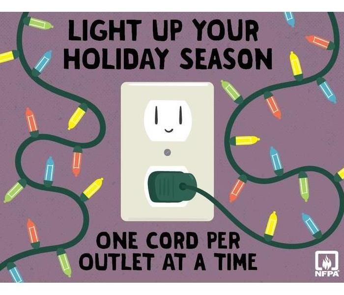 "words ""Light up your holiday season, one cord per outlet at a time"" Image is christmas lights and a cartoon wall outlet."