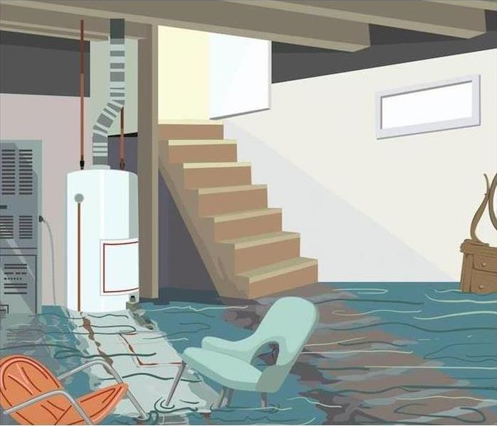 Cartoon picture of a flooded basement